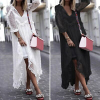Women Summer See Through Lace Long Dress Dot Plus Size Outside Smock Sundress