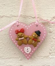 Gingerbread Man christmas tree decoration or kitchen decoration Wood heart.Pink