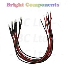 5 x Pre-Wired White LED 3mm Diffused : 9V ~ 12V : 1st CLASS POST