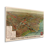 1902 Chicago Map Wall Art - Vintage Chicago and North-Western Railway Poster Map