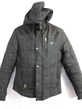 Mens  Black Coat Jacket Voi Jeans Glance Zip Up Button Up Hood Size M