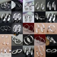 Women 925 Sterling Silver Round Dangle Hoop Drop Earrings Fashion Jewelry