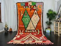 """Boujad Handmade Moroccan Vintage Rug 5'1""""x9'3"""" Geometric Orange Red Berber Rug"""
