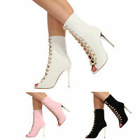 NEW WOMENS HIGH HEEL LACE UP PEEP TOE ANKLE CALF LADIES BOOTS SHOES SIZE 3-8