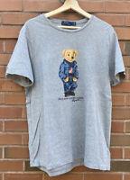 Mens Polo Ralph Lauren Rare Polo Bear Gray Graphic T-Shirt Size Large