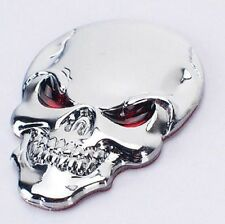 DZ820 Metal 3D demon Skull CrossBones car Badge Emblem Car sticker ~silver~ ^