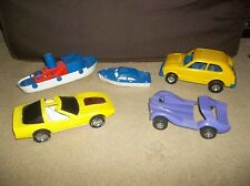 """Vintage 1970's-'80's Lot of 5 """"Dime Store"""" Plastic Cars & Boats Medium Scale"""