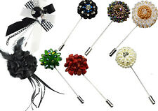 Faux Gem Stones Bead Diamante Crystal Floral Rose Corsage Lapel Pins Prom Brooch