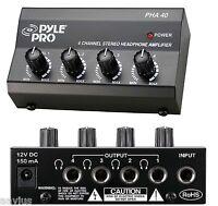 Pyle 4-Channel Headphones Signal Splitter Amp Distribution Sharing Amplifier Box