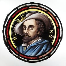 Antique Stained Glass, Portrait of Sir Peter Paul Rubens, Famous Flemish Painter