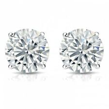 0.60 Cts F/VS1 GIA Round Brilliant Cut Diamonds Stud Earrings In Fine 18K Gold