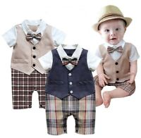 Baby Boy Wedding Christening Formal Tuxedo Suits Outfit Dress Clothes Romper