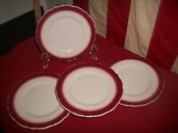 "Vtg Lot of Four Syracuse China  6 1/2"" Bread Plates~ White w/ Maroon  Trim"