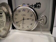 Face Pocket Watch New Reduced Colibri Swiss Silvertone Stripes W/Shield Silver
