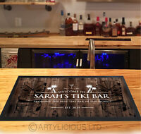 Personalised Tiki Bar Runner MAT - Dark wood effect Bar mat - *ANY NAME*