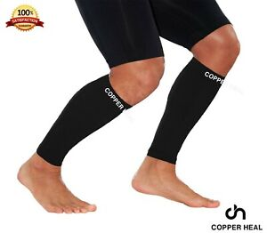 CALF Copper Compression SLEEVES by COPPER HEAL (1 Pair) Highest Copper Infused