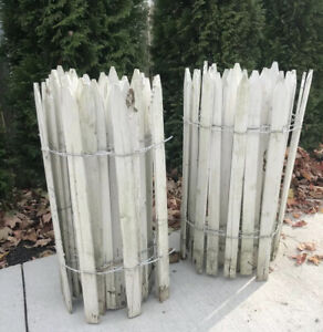 """Vintage Wood Woven Wired White Picket Garden Flower Rolled Fencing 28 Ft X 24"""""""