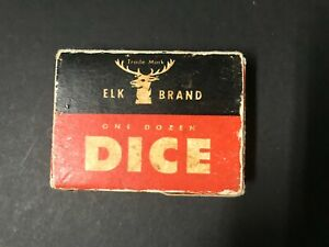 Vintage Trade Mark Elk Brand ELKOID Dice one dozen in box, 12 players playing