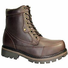 NEW MENS LACE UP BROWN MILITARY RUGGED BIKER HI TOP ANKLE SHOE  BOOTS  SIZE UK 8