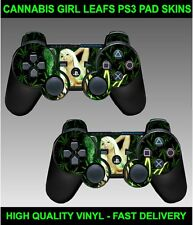 PS3 PLAYSTATION 3 CONTROLLER SKINS X 2 SEXY CANNABIS GIRL WEED LEAF PAD DECALS