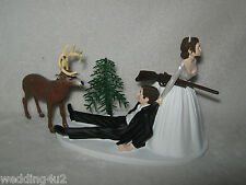 Wedding Party Redneck Deer Hunter Hunting Cake Topper ~Dark Hair on Both~