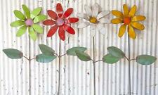 Recycled Metal Colorful Flower Garden Stakes Yard Decor Tin Art Flowers