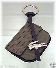 New Authentic LACOSTE KEYRING KEY FOB Bag Charm Croco Lite L22.2Khaki