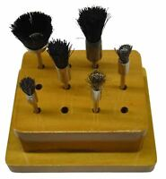 ASSORTED END BRUSHES NATURAL BRISTLE BRASS STEEL SET 6pc MOUNTED ON WOODEN STAND