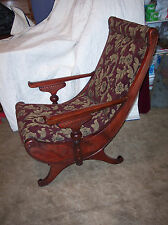 Mahogany Carved Sleepy Hollow Chair / Parlor Chair  (AC53)