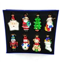 Assorted Mercury Style Glass Hand Painted Christmas Ornaments Set of 8