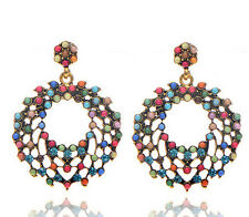 Bohemia Style Colorful Beads Circle Hollow Out Big Pendant Fashion Earring Stud