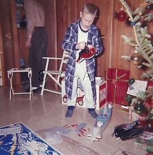Org Vintage 1962 Christmas RP- Christmas Tree- Boy Plays with Cool Toy Warship