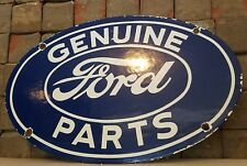 VINTAGE FORD PORCELAIN GAS AUTO GENUINE PARTS SERVICE STATION PUMP PLATE SIGN
