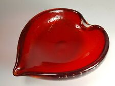 VINTAGE WHITEFRIARS GLASS CONTROLLED BUBBLE RUBY RED LEAF SHAPE BOWL - ASH TRAY