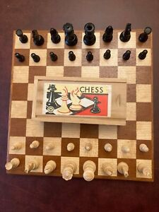 Vintage K&C Boxwood Staunton Chess Set Made in France & Wooden Board - King 55mm