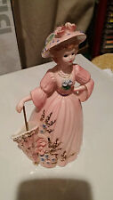 "Josef Originals Four Seasons Figurine 9"" Lady In Pink Dress w / Parasol"