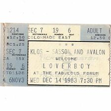 Loverboy Concert Ticket Stub Los Angeles 12/14/83 Lovin' Every Minute Of It Rare