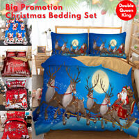 Christmas Quilt Doona Duvet Cover Set Double/Queen/King Size Bedding Pillowcases
