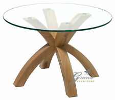 Phoenix Solid Oak Coffee Table With Clear Glass Top Living Room Furniture