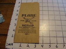 Vintage Early Paper: PLANE SCRAP pure clean CIGAR paper bag UNUSED. early