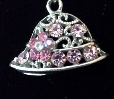 Retro Necklace Pendant Lace Bell Pink Crystals 18 inch Silver Plated Chain