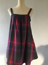 JACK WILLS purple / Navy Blue Checked Strappy Tunic Top Size 10 VGC