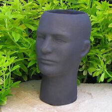 """Male PLANTER 11"""" FLOWER POT HEAD Cast Cement Brown Stain CONCRETE Garden Decor"""