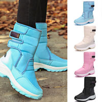 Plus Size Womens Winter Mid-Calf Snow Boots Fur Lining Waterproof Warm Shoes