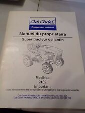 Cub Cadet Super Garden Tractor model 2182 with Kubota Engine French Manual