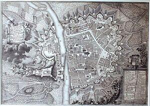 J.August Corvinius: Stadtplan von Würzburg 1740 Kupferstich Plan Ansicht Kleiner
