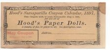 Rare 1897 Coupon for a Set of Hood's Sarsaparilla Paper Dolls