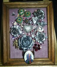"""Jewelry Art Bouquet """"Silver"""", signed by Artist, full of silver Roses"""
