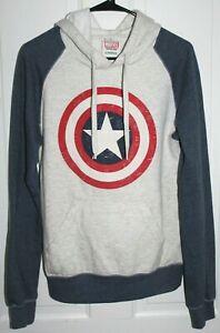 MARVEL Captain America Hoodie Sweatshirt Men's S Gray & Blue Cotton & Polyester