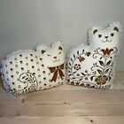 Vintage Cat Shaped Decorative Throw Pillows, Set of 2, Kitty, Floral, Lace CUTE!